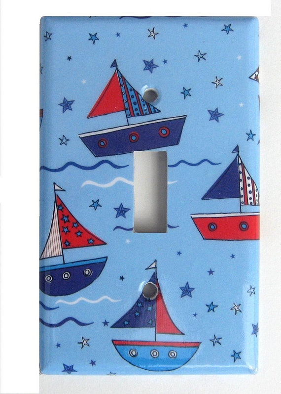 Sailboats Light Switch Cover Nautical Nursery Decor Baby Boy Red White Blue (LK7)