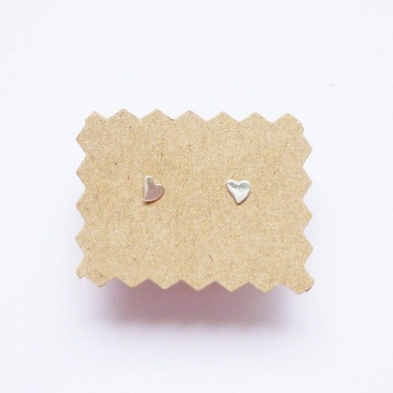 Tiny Flat Silver Heart Ear Studs - 925 Sterling Silver Earrings - Gift under 5 - 4 mm
