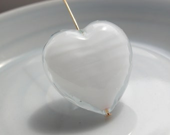 White Venetian Murano Glass Heart Bead