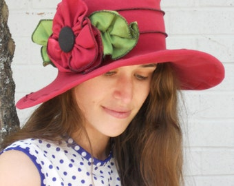 Ladies Sun Hat - Travel Hat - Organic Fabric - Hand Dyed Red - Traveling Mabel