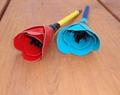 Flower pens red teal - duck duct tape - pair