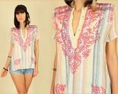 ViNtAgE 70's Rainbow Gauze Embroidered Folk Art India Tunic Handmade Top S