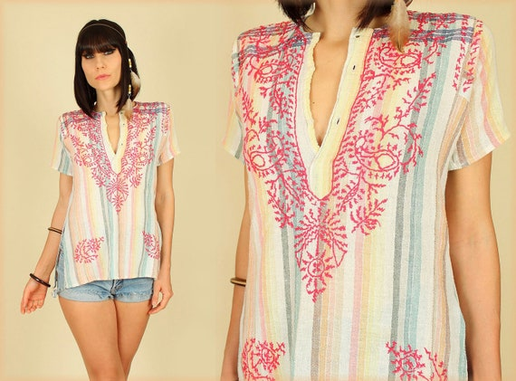 ViNtAgE 70's Rainbow Gauze Embroidered Folk Art India Tunic Handmade Top S