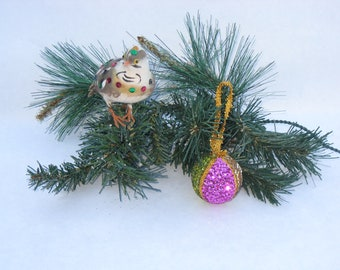 vintage cotton bird and sequin  ball ornament