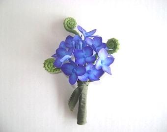 Wedding Hydrangea Boutonniere Groomsmen Blue Purple Flower Bestman Flower Made to Order