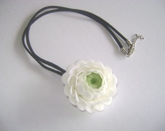 Bridesmaid Gift. White Ranunculus Necklace