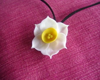 Handmade Clay Daffodil Necklace Clay Flowers Spring Necklace