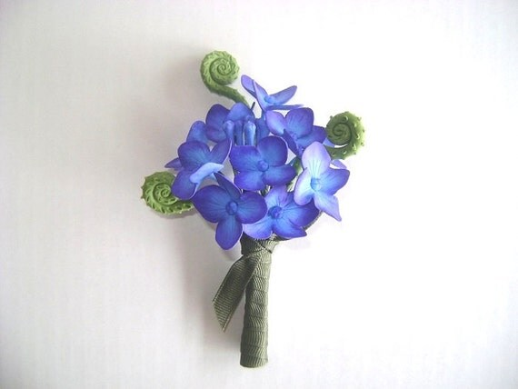 Hydrangea Boutonniere Groomsmen Blue Purple Flower Bestman Flower ... Blue Hydrangea Boutonniere