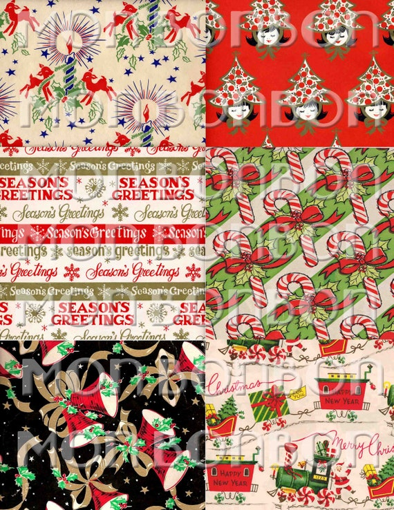 Digital Collage Sheet of Vintage Retro Christmas Wrapping Paper Images -artwork, cards, tags, craft, card supplies - Instant Download
