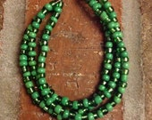 FREE SHIPPING Three-Strand Green Beaded Bracelet and Earring Set