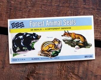 Vintage Eureka Forest Animals Gummed Seals (Stickers, Decals) - Book of 36 Seals