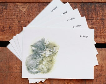 Vintage Cute Gray Kittens Postcards - Set of 6 - Stationery, Writing, Letters