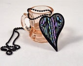 Multi-Colo Polymer Clay Pendant Heart made with Border Cane