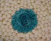 Chiffon Flower Hair Clip Turquoise With Black Dot  Frayed Shabby Chic Rosette Fabric Flower Clippie