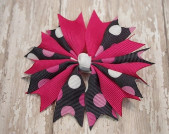 "Shocking Pink and Black Dots Pinwheel Spikes Boutique 4"" Hair Bow"