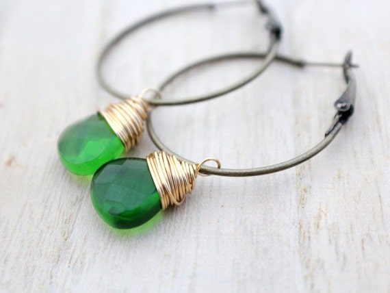 Olive Green Hoops - Quartz And Brass, Spring Fashion, Bohemian, Gifts Under 25