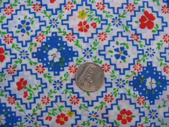 Vintage 1970s Great for Quilt Pennsylvania Dutch Like Flowers Red White Green and Blue Half yard