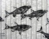 Reserved for Robert GYOTAKU fish Rubbing on stock market 8.5 X 11 quality print School of Fishing Business by artist Barry Singer