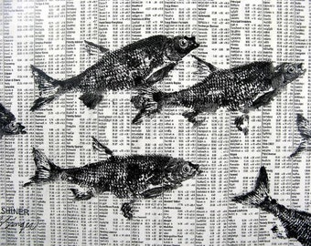 GYOTAKU fish Rubbing on stock market 8.5 X 11 quality print School of Fishing Business by artist Barry Singer