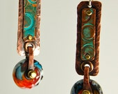 3. Ivory, Turquoise and Red  Lamp Work Glass Bead and Copper Earrings