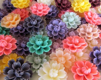 SALE Large 26mm Flower Resins / Lotus for hair clips, cell phone decoration, wedding crafts x 20