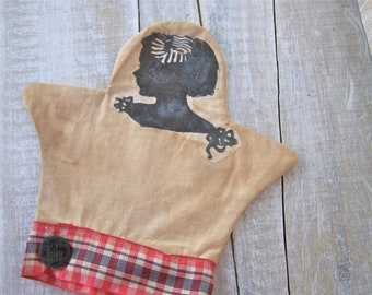 Americana Decor // Hand Puppet //  French Country // Tea Stained // Silhouette Art // Prop Sitter