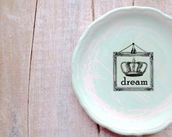 Dream Sign // Vintage Nursery Decor // Aqua Green // CROWN // Shabby Chic Beach Cottage Bedroom //  Baby Room