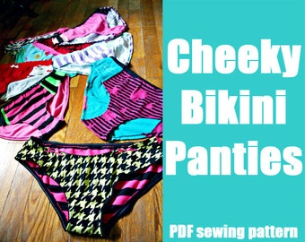 Cheeky Bikini panties or swim suit bottoms - WhatTheCraft Printable PDF Pattern - XS thru XL