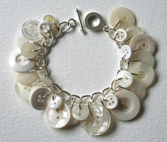 Button Charm Bracelet Pearly King and Queen