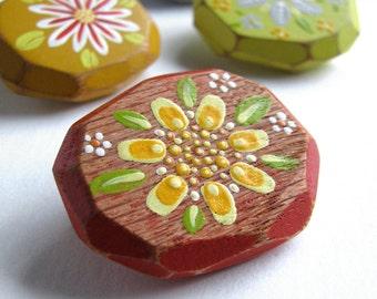 Faceted Wood Brooch, Geometric Jewelry,  Zinnia Orange, Yellow Flower Pin, Reclaimed Oak, Gift for a Gardener