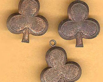 vintage charms three BRASS CLOVER charm drops, ox, easy to dangle as a charm club or clover shape st patrick day