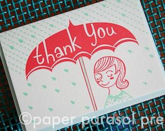 Thank You Umbrella Cute Letterpress Card