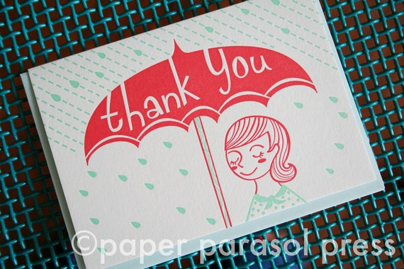 Thank You Umbrella Letterpress Card - SALE