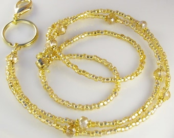 Gold Crystal Beaded Lanyard SIMPLICITY Glass Beaded ID Badge Holder