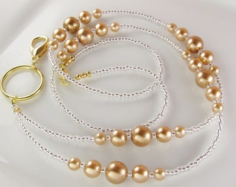 Gold Pearls Beaded Lanyard SIMPLICITY ID Badge Holder breakaway gifts for her