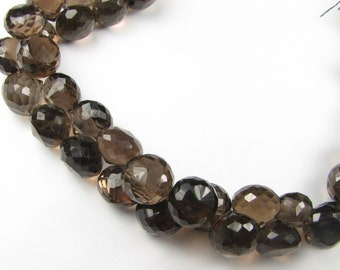 Smokey Quartz Micro Faceted Onion Candy Kiss Briolette Beads 6mm - 7mm ( 8 Gems )