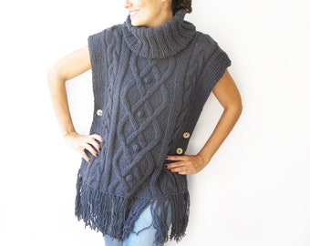 Plus Size Sweater Tunic Blue Gray  Cable Knit Poncho by Afra