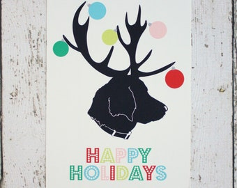 Custom Personalized Dog / Pet  Silhouette Christmas Card with Antlers & Ornaments