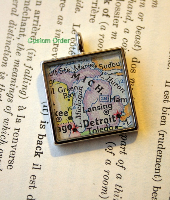 Map Pendant, Custom Order Option-Medium Square Shiny Silver-You Name your City!