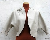 Beige Leather Bolero Jacket By Stacy Leigh Size Small to Medium Ready to Ship