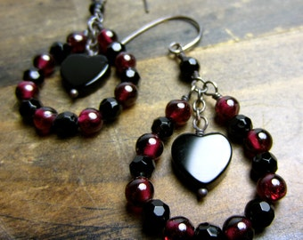 Black Heart Loop Earrings Handmade Rock n Roll