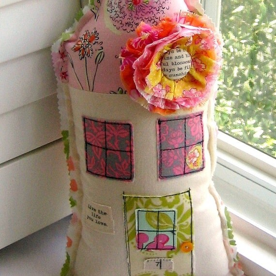 House Pillow, Home Pillow, Flower Pillow, House Shaped Pillow, Appliqued, Live the life you love, Cottage Pillow - No. 101