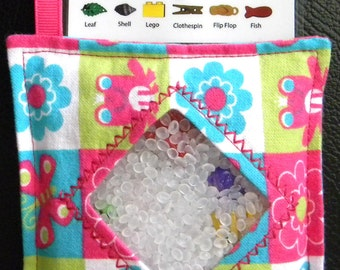 I Spy Bag - Mini with SEWN Word List and Detachable PICTURE LIST- Spring Squares