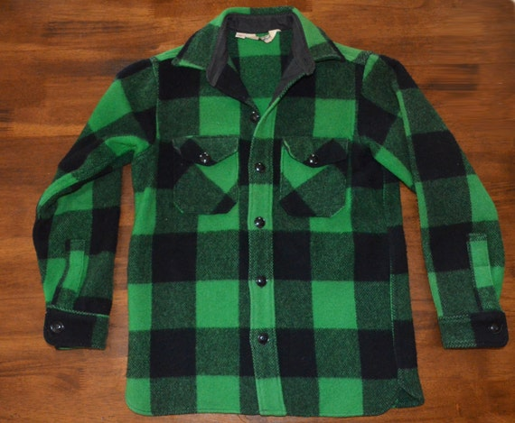 Vintage 70s Buffalo Plaid Wool Jacket Woolrich Shirt Green