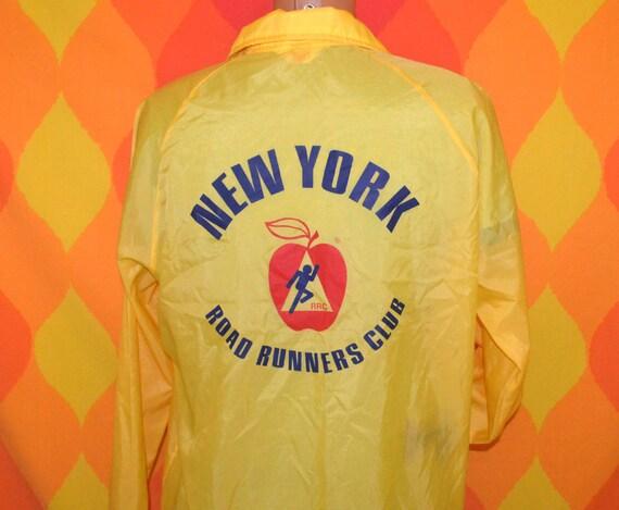 vintage 70s jacket nylon windbreaker NEW YORK road runners club ED coat snap Large nyrrc