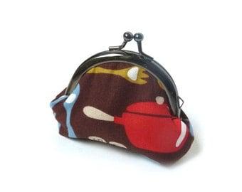 Coin purse, Multi colour kitchen print, cotton purse