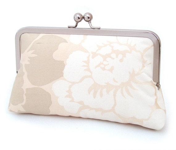 Stencil bloom clutch : Silk purse / wedding / bridal / party