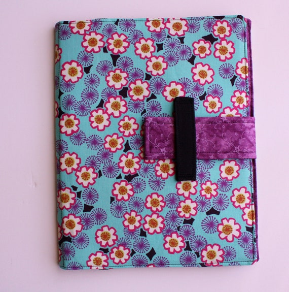 iPad case stand Luca Turquoise Asian floral fabric ipad cover