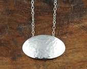 Shimmering Pool - Hammered Silver Oval Necklace