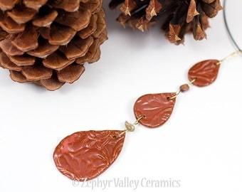 SALE•Pendant Cedar Drop and Jasper Ceramic Porcelain Necklace